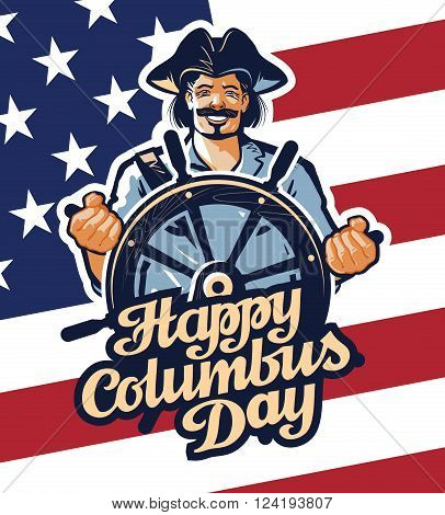 Christopher Columbus on American flag background. vector illustration