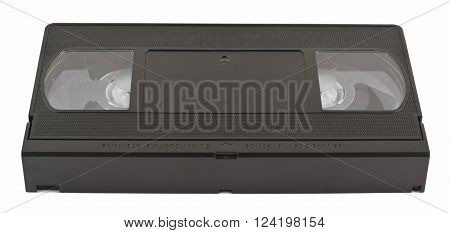 Video tape VHS for video recorder. Old video cassette no label. Isolated on white background without shadows.
