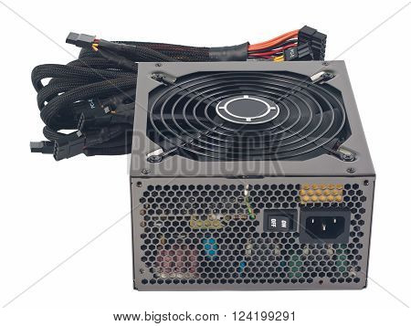 Power supply for computer. Object is isolated on white background without shadows.
