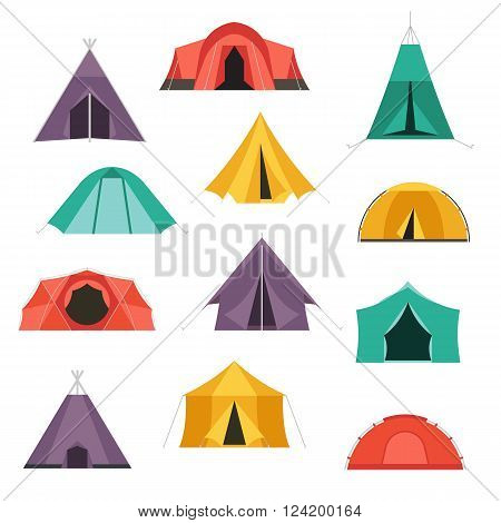Camping tents vector icon. Triangle and dome flat design tents. Tourist hiking equipment isolated on white background. Green blue yellow and blue colors. Vector tent pictograms.