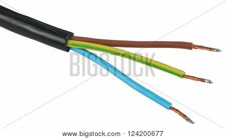 The bare wires of the electric power cable. Object is isolated on white background without shadows.