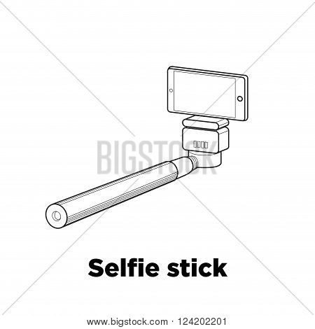 Selfie stick line icon on the white background.