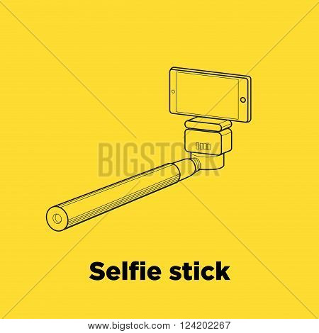 Selfie stick line icon on the yellow background.