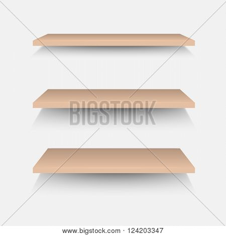 Brown shelves on white wall, stock vector