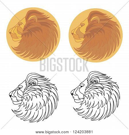 Silhouette of a lion in the sun. Vector flying lion. Folk illustration lion. Ethnic image of lion.