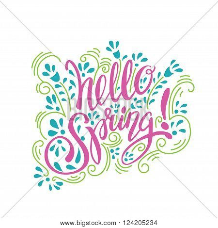 Spring lettering design elements. Hallo spring flowers art hand drawn text design.