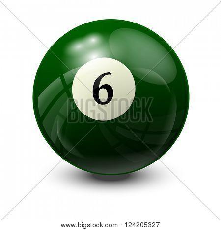 billiard ball 6- realistic vector design