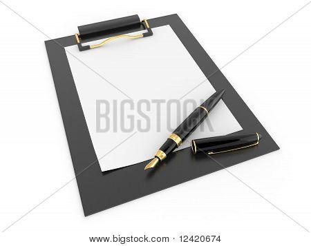 Pen On Clipboard. Empty Sheet Of Paper
