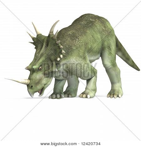 Dinosaur Styracosaurus. 3D rendering with clipping path and shadow over white poster