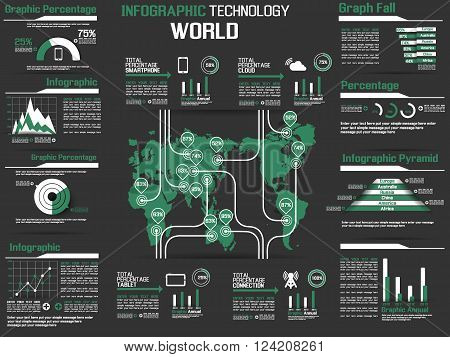 INFOGRAPHIC COLLECTION ELEMENT TECHNOLOGY WORLD GREEN for web