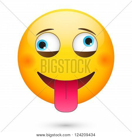 Crazy emoticon. Isolated vector illustration on white background