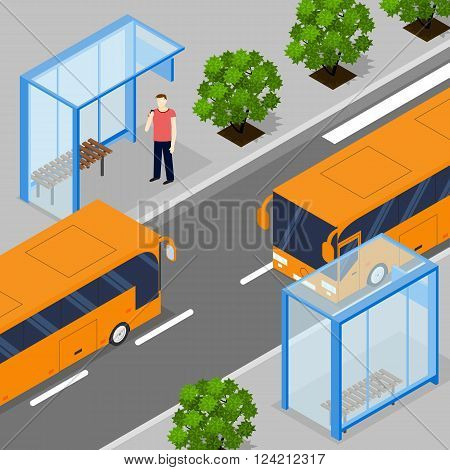 Two oncoming city bus. Flat isometric. Two bus stops. People waiting for ground transportation. The trees along the road. Vector illustration.