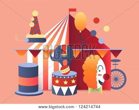 Circus tent design. Festival entertainment, carnival amusement, fun show event. Vector illustration