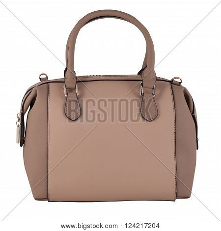 Brown Female Leather Bag Isolated On White Background