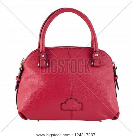 Pink Female Leather Bag Isolated On White Background