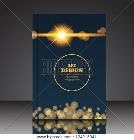 Abstract Composition Shiny Circle Shapes Flare Light Flash A4 Brochure Title Sheet Eps 10 Vector