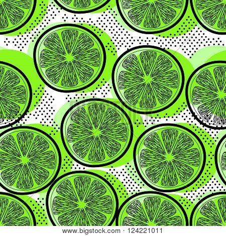 Cut limes decorative seamless retro background pattern with contour drawing. Textile  fruit background. Vector illustration