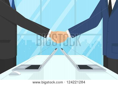 Two businessmen wearing suits and staying in the office do handshake and just agreed a deal. Flat illustration of business or financial partnership