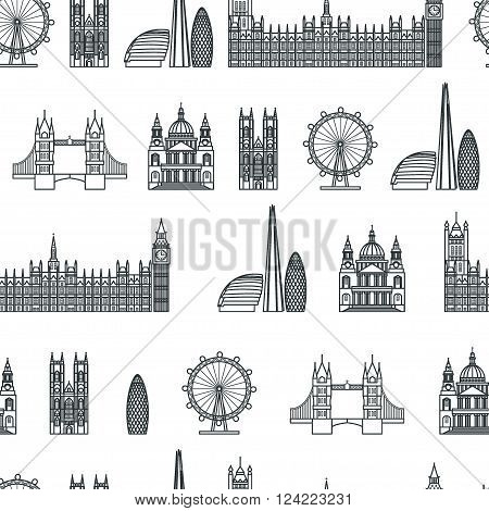 Vector Illustration of London Icon Seamless PAttern Outline for Design, Website, Background, Banner. Travel Britain Logo Landmark Silhouette  Element Template for Tourism Flyer. Big Ben, Eye,  church, St Pauls Cathedra,  parliament.