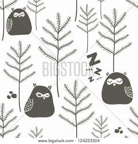 Sleeping birds in winter forest. Seamless pattern with funny little owls on the snow. Vector background.