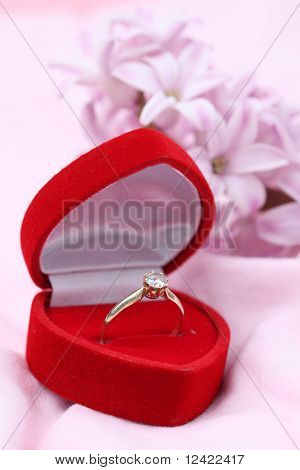 Engagement ring and hyacinth