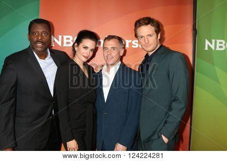 LOS ANGELES - APR 1:  Eamonn Walker, Torrey DeVitto, David Eigenberg, Nick Gehlfuss at the NBC Universal Summer Press Day 2016 at the Four Seasons Hotel on April 1, 2016 in Westlake Village, CA