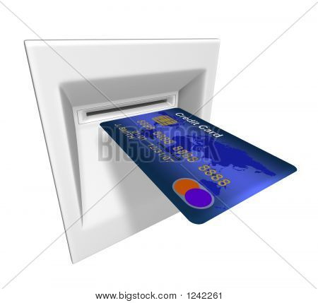 3d rendered illustration of abstract credit card in atm machine poster