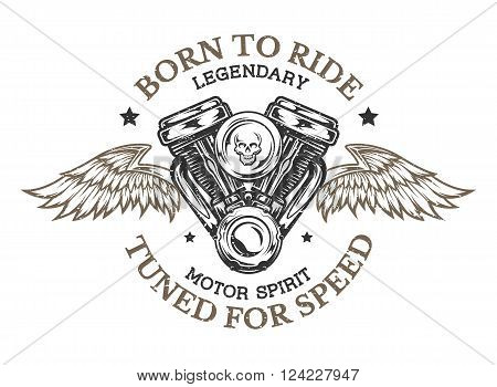Motorcycle engine and wings in vintage style. Emblem, symbol, t-shirt graphic.