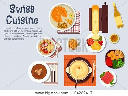 Traditional swiss cheese and chocolate fondue, served with croutons and fresh vegetables, melted cheese raclette with potatoes and sausages, potato fritter rosti and cured lamb, bircher muesli with fresh fruits and wine bottle