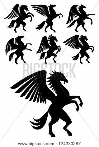 Mythical gorgeous winged pegasus black horses with open wings. Heraldry, coat of arms, equestrian sport symbols or tattoo design usage