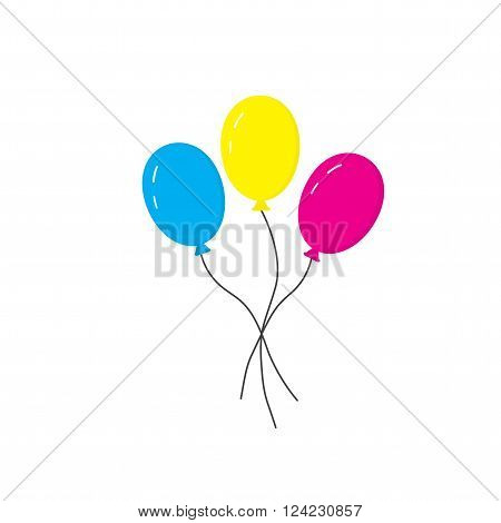 Blue yellow and pink balloons on strings. Three balloons. Icon balloons for the holiday. Vector illustration.