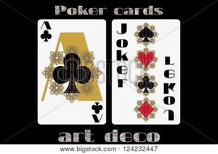 Poker Playing Card. Ace Clubs. Joker. Poker Cards In The Art Deco Style. Standard Size Card.