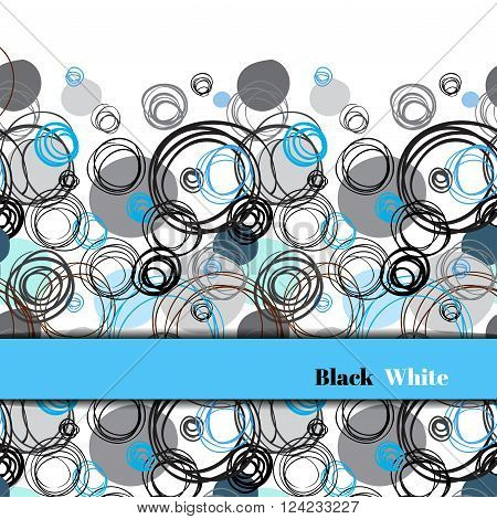 Abstract geometric background. Horizontal border stripe design. Black blue gray hand drawn intersecting outline circles elegant ornament in white blue background. Vector element of graphic design