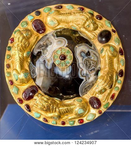 AZOV RUSSIA- SEPTEMBER 20 2015- Details harness -Phalar harness .1 century AD. Gold agate vitreous paste bronze silver turquoise in the museum - reserve on September 20;2015 in Azov