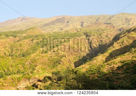 Water gulley leads to dry river banks from the mountain landscape of Serra on the Island of Fogo Cabo Verde
