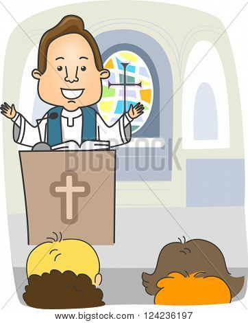 Illustration of a Priest Preaching from the Pulpit