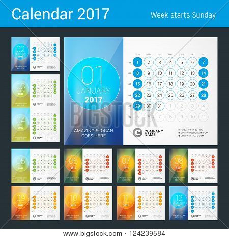 Desk Calendar for 2017 Year. Set of 12 Months. Vector Design Print Template with Place for Photo. Week Starts Sunday