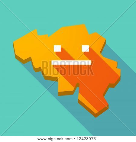 Long Shadow Map Of Belgium With A Emotionless Text Face