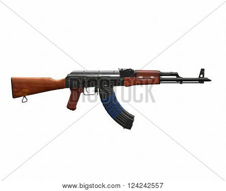 Akm assault rifle 3D illustration on white background isolated
