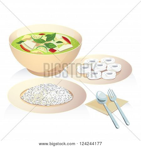 Vector of thai food a chicken green curry with rice and rice vermicelli.