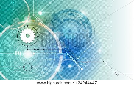 Vector illustration white gear wheel on circuit board. Hi-tech digital technology and engineering digital, telecoms technology concept.  Abstract futuristic- technology on blue color background