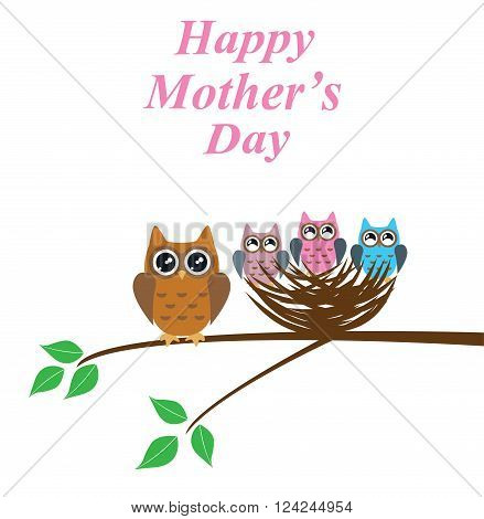 vector illustration of mother's day with owls