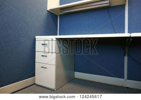 close up on empty cubicle in office