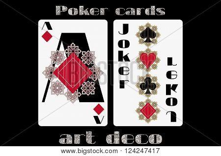 Poker Playing Card. Ace Diamond. Joker. Poker Cards In The Art Deco Style. Standard Size Card.
