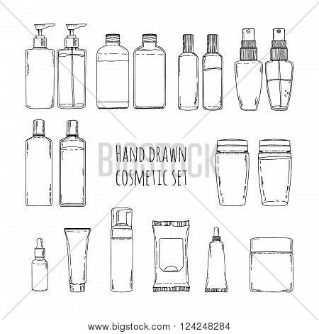 Set of hand drawn of cosmetics for skin care. Doodles of cosmetic bottles and cosmetic package. Set of cosmetic bottles for shampoo, creams, tonic. Vector illustration