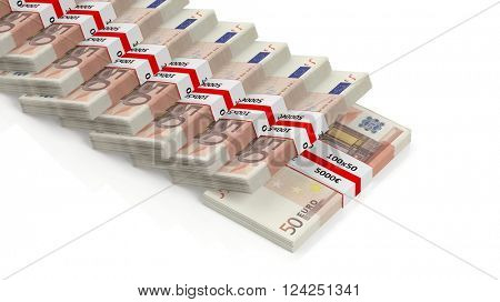 Euro banknotes of 50 in stacks, isolated on white background, 3d rendering