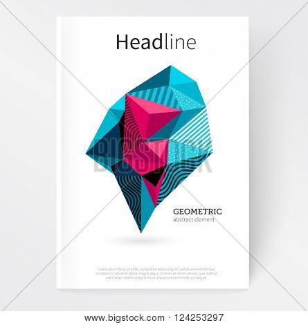 Cover template. Flat style Abstract geometric polygonal design element. Geometric crystal. stock-vector EPS 10