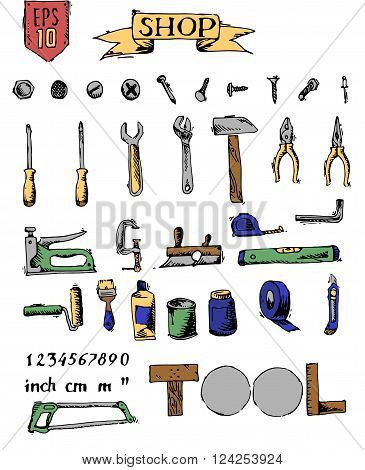 Tools set. Colorful hand drawn vector stock illustration