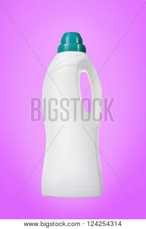 Softener In White Plastic Bottle Isolated