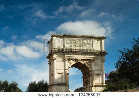Roman Titus Arch at the Forum Romanum Rome Italy